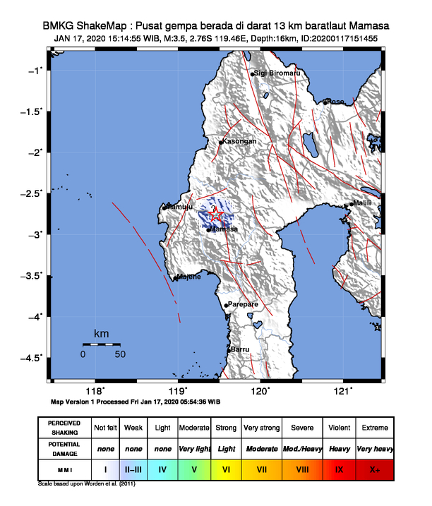 Peta Gempa Dirasakan