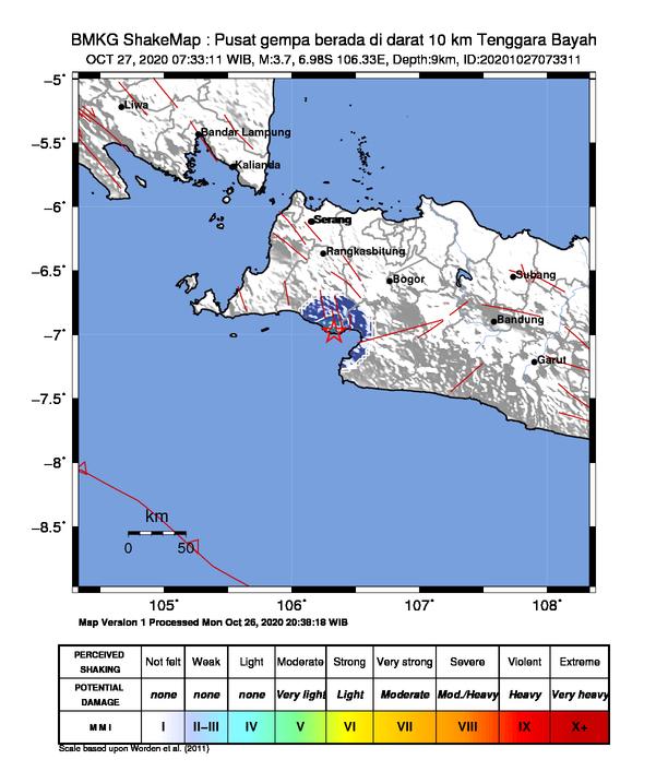 Gempa di Bayah, Kabupaten Lebak, Banten pada Selasa (27/10/2020) pagi