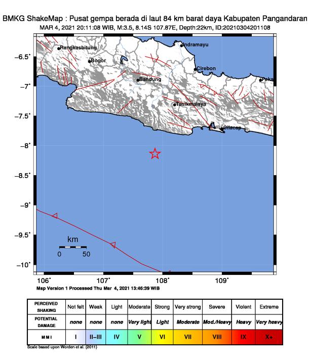 Gempa mengguncang Pangandaran, Kamis (4/3/2021).