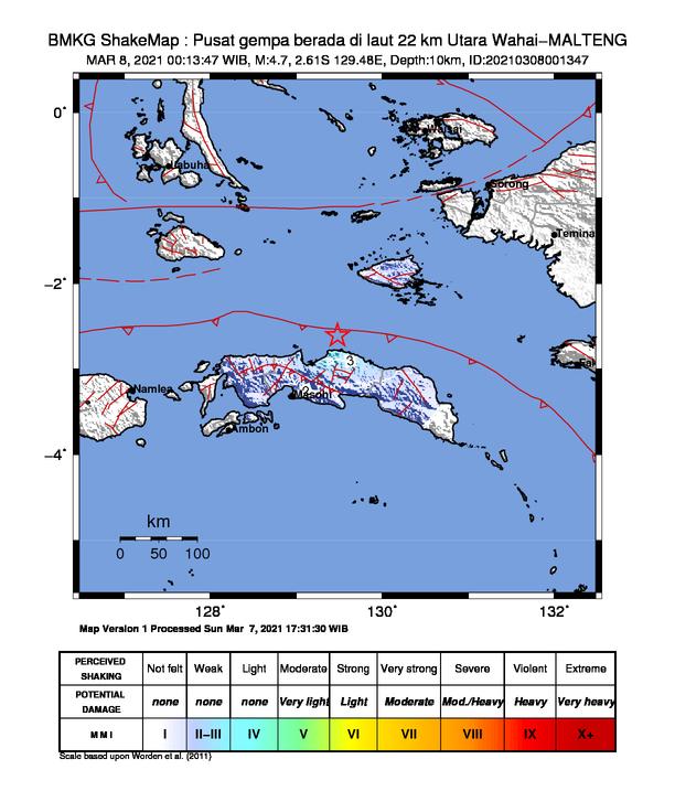 Gempa di Wahai Maluku Tengah, Senin (8/3/2021)