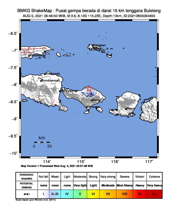 gempa bumi guncang Buleleng Bali, Kamis (5/8/2021)